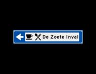 Verwijsbord KOKER Blauw/wit/zwart - pijl links, met 2 pictogrammen - Klasse 3 reflecterend