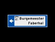 Verwijsbord KOKER Blauw/wit/zwart - pijl links, 2 regelig met 1 pictogram - Klasse 3 reflecterend