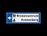 Verwijsbord KOKER Blauw/wit/zwart - pijl links, 2 regelig met 2 pictogrammen - Klasse 3 reflecterend