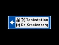 Verwijsbord KOKER Blauw/wit/zwart - pijl links, 2 regelig met 3 pictogrammen - Klasse 3 reflecterend