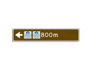 Verwijsbord KOKER Bruin/wit/zwart - pijl links, met 2 pictogrammen - Klasse 3 reflecterend