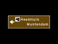 Verwijsbord KOKER Bruin/wit/zwart - pijl links, 2 regelig met 1 pictogram - Klasse 3 reflecterend