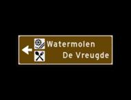Verwijsbord KOKER Bruin/wit/zwart - pijl links, 2 regelig met 2 pictogrammen - Klasse 3 reflecterend