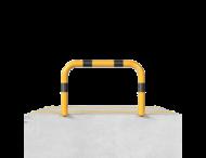Beschermhek Ø76mm - 750x750mm - met bodemmontage - geel/zwart