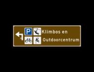 Verwijsbord KOKER Bruin/wit/zwart - pijl links, 2 regelig met 4 pictogrammen - Klasse 3 reflecterend