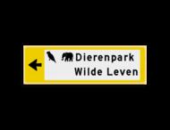 Verwijsbord KOKER Geel/wit/zwart - pijl links, 2 regelig met 2 pictogrammen - Klasse 3 reflecterend