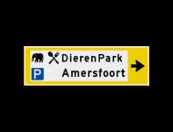 Verwijsbord KOKER Geel/wit/zwart - pijl rechts, 2 regelig met 3 pictogrammen - Klasse 3 reflecterend