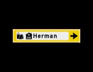 Verwijsbord KOKER Geel/wit/zwart - pijl rechts, met 2 pictogrammen - Klasse 3 reflecterend