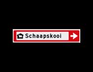 Verwijsbord KOKER Rood/wit/zwart - pijl rechts, met 1 pictogram - Klasse 3 reflecterend