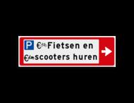 Verwijsbord KOKER Rood/wit/zwart - pijl rechts, 2 regelig met 3 pictogrammen - Klasse 3 reflecterend