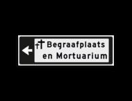 Verwijsbord KOKER Zwart/wit/zwart - pijl links, 2 regelig met 1 pictogram - Klasse 3 reflecterend