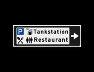 Verwijsbord KOKER Zwart/wit/zwart - pijl rechts, 2 regelig met 4 pictogrammen - Klasse 3 reflecterend