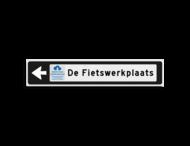 Verwijsbord KOKER Zwart/wit/zwart - pijl links, met 1 pictogram - Klasse 3 reflecterend