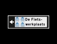 Verwijsbord KOKER Zwart/wit/zwart - pijl links, 2 regelig met 4 pictogrammen - Klasse 3 reflecterend