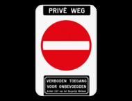 Bord Privé weg - verboden toegang artikel 3.67