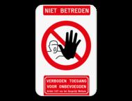 Bord Niet betreden verboden toegang artikel 3.67