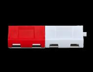 Kunststof barrier 1000x400x550mm - rood/wit - vulbaar met water of zand