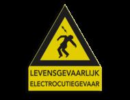 Waarschuwingsbord ALU - LEVENSGEVAARLIJK ELECTROCUTIEGEVAAR