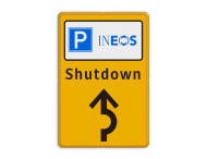 Informatiebord parkeren bedrijfsnaam/logo - geel/zwart/blauw + tekst en pijl