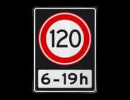 Verkeersbord RVV A01 120 OB201ps - Maximum snelheid 100 km/h