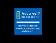 Informatiebord parkeerplaats - accu vol?