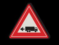 Verkeersbord links achteruitrijdende vrachtwagen