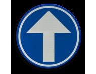 Verkeersbord België D01c - Verplicht rechtdoor.