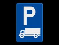 Verkeersbord België E09c - Parkeren uitsluitend voor lichte vrachtauto's en vrachtauto's.