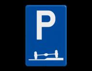 Verkeersbord België E09f - Verplicht parkeren deels op de berm of op het trottoir