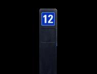 Huisnummerpaal zwart recycling + 1x huisnummer blauw/wit