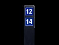 Huisnummerpaal zwart recycling + 2 huisnummers onder elkaar - blauw/wit - reflecterend klasse 3