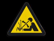 Pictogram W032 - Gevaar voor sneldraaiend werkstuk in persbank