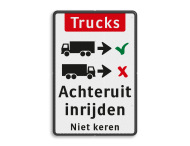 Informatiebord - vrachtwagens achteruit inrijden - BT16a-EN