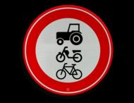 Verkeersbord RVV C09 - Gesloten voor ruiters, vee, wagens en motorvoertuigen < 25km/h