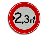 Verkeersbord RVV C18-... - Gesloten voor te brede voertuigen