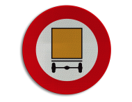Verkeersbord België C24a - Verboden toegang voor bestuurders van voertuigen die gevaarlijke goederen vervoeren.