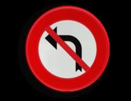 Verkeersbord België C31g - Verbod aan het volgend kruispunt af te slaan in de richting door de pijl aangegeven.