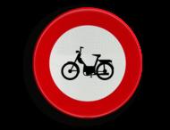 Verkeersbord België C09 - Verboden toegang voor bestuurders van bromfietsen.
