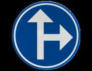 Verkeersbord België D03b - Verplichting één van de door de pijlen aangeduide richtingen te volgen
