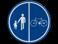 Verkeersbord België D09b - Deel van de weg voorbehouden voor voetgangers en fietsen