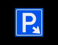 Verkeersbord E04 - Parkeergelegenheid + pijl