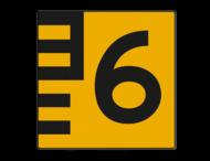Scheepvaartbord BPR G. 5.1 - Hoogteschaal geel/zwart rechts