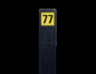 Huisnummerpaal zwart recycling + 1x huisnummer geel/zwart - reflecterend klasse 3