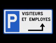 Parkeerbord België - Parkeren met eigen tekst en pijl