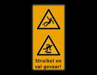 Veiligheidspictogram - Struikelgevaar - W007 -  Pas Op! Val gevaar - W008 + Eigen tekst