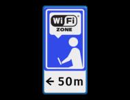 Informatiebord blauw/wit/zwart - Wifi-zone + txt