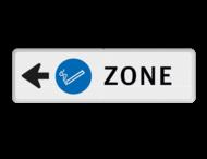 Routebord pijl - ROOKZONE + eigen tekst