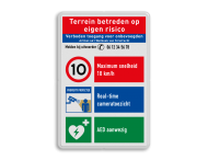 Veiligheidsbord met instructies | 4 regels / 3 symbolen