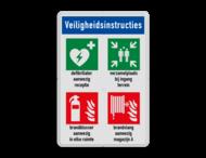 Veiligheidsbord met instructies | 1 regel / 4 symbolen met vrij invoerbare tekst