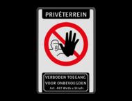 Bord Priveterrein verboden toegang artikel 46